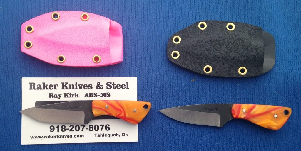 """The """"Lil Darlin"""" purse knife with Kydex and the neck knife with the black Kydex. The price for these knives is $50.00 plus $6.00 shipping."""